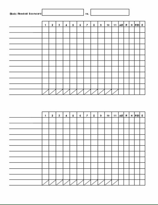 Basic baseball scorecard