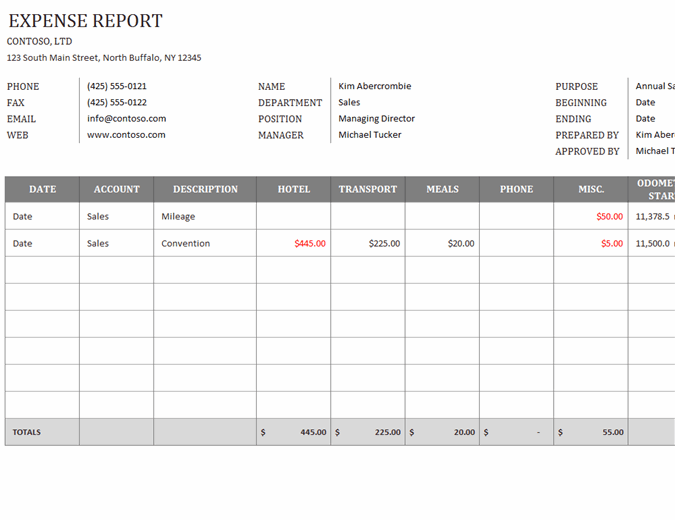 You should also check the daily expense tracker template. Business Expense Report