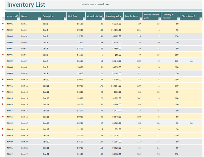 This template is used for tracking every type of inventory. Inventories Office Com