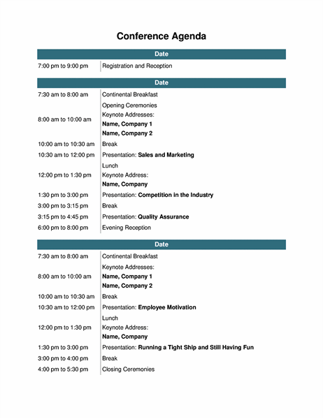 Workshops, just like other events and meetings, should be properly planned for its execution to be smooth flowing and for all the items needed for the workshop to be prepared. Conference Event Agenda