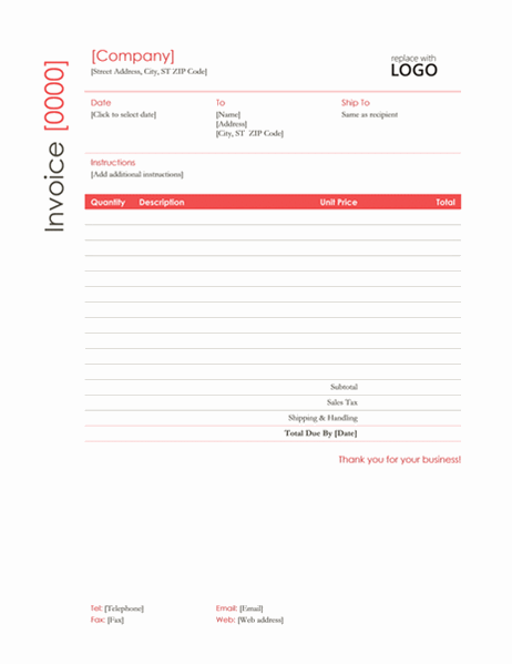 Invoice (Red design)