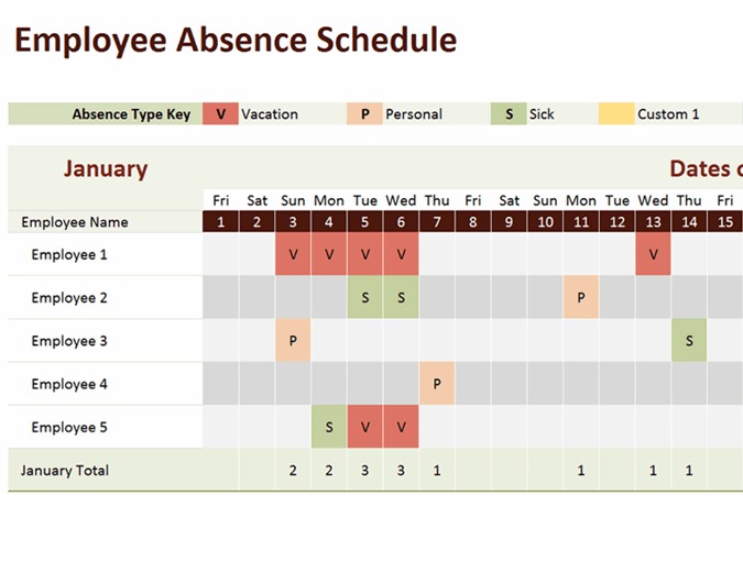 Free excel leave tracker template for 2021 where you can keep track of your team's vacations, pto, sick leave and any other type of absence. Employee Absence Schedule
