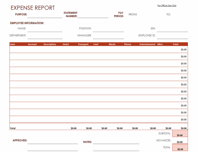 This is an accessible template. Expense Report
