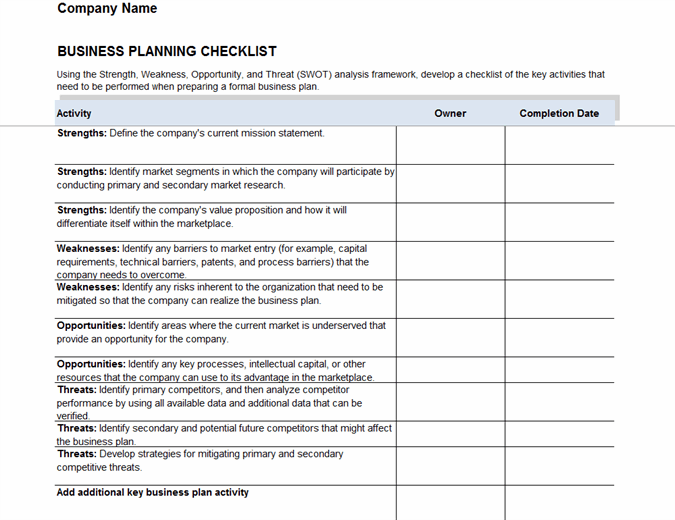 Start your new venture with this business startup checklist template. Business Plan Checklist