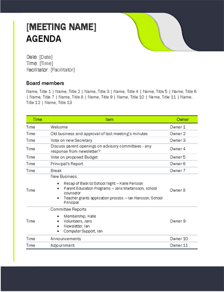 A committee meeting agenda is a helpful tool in organizing team meetings that cover all pertinent topics efficiently. Agendas Office Com
