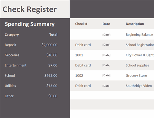 When you are dealing seriously with your transactions especially as regards the disbursements of checks, you must see to it that you have records of all your check disbursements not only to monitor the amount you have left in a certain bank but also to manage your expenses or cut off. Check Register With Spending Summary