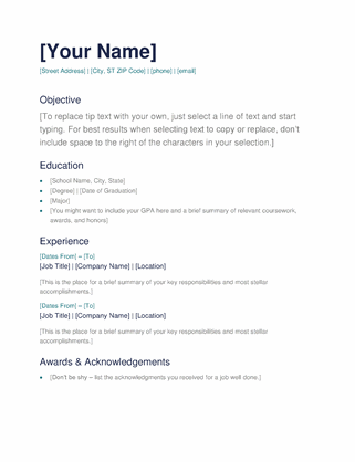 Doc format and just fill in with your information. Simple Resume