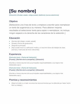 Plantilla D Curriculun : plantilla, curriculun, Currículum, Simple