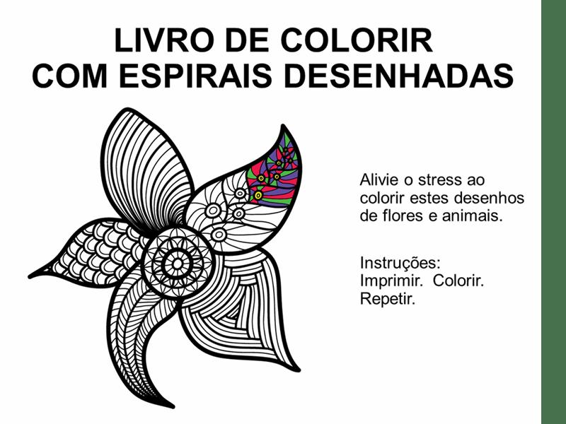 Livro para colorir com espirais desenhadas