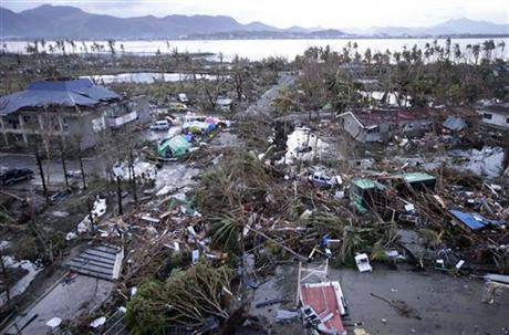 Tacloban airport in the Philippines after Typhoon Haiyan