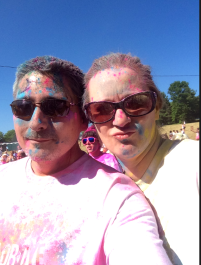 The wife and I after the race, but before the dye bomb
