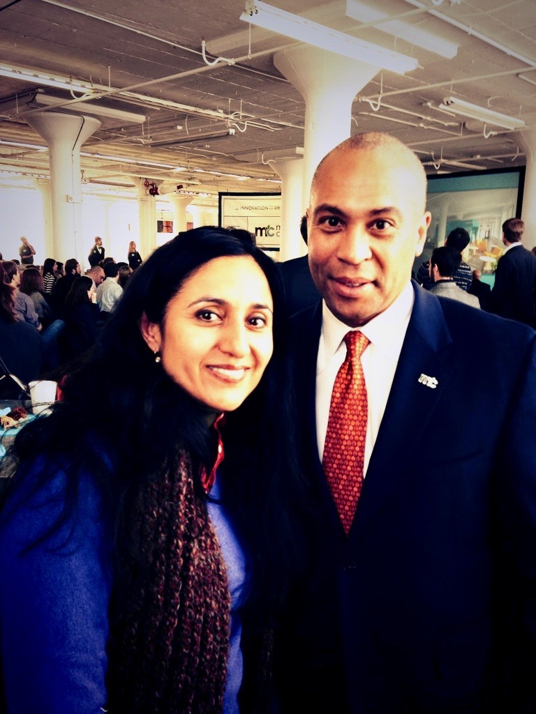 Bindu Dadlani with Deval Patrick in MassChallenge
