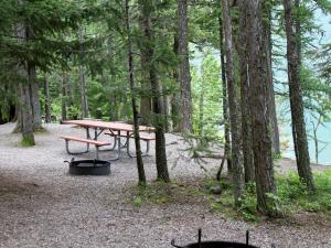 Fish Creek Campground and Picnic Area border Lake McDonald.