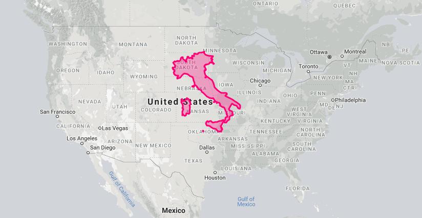 Italy and sardinia size map