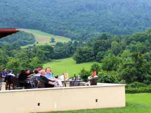 Patio seating at Afton Mountain Vineyards