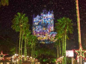 Disney's Tower of Terror Decorated for Christmas