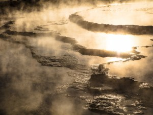 Great Fountain Geyser terraces at sunset