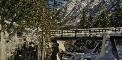 Cross-country skier, McDonald Creek, Glacier in winter