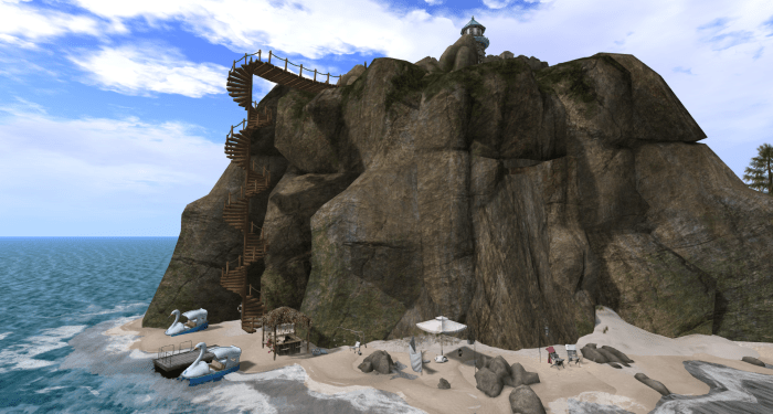 Stairways and beachbar