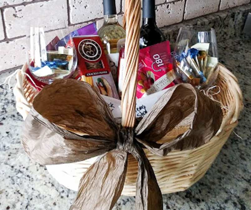 Gift baskets with wine