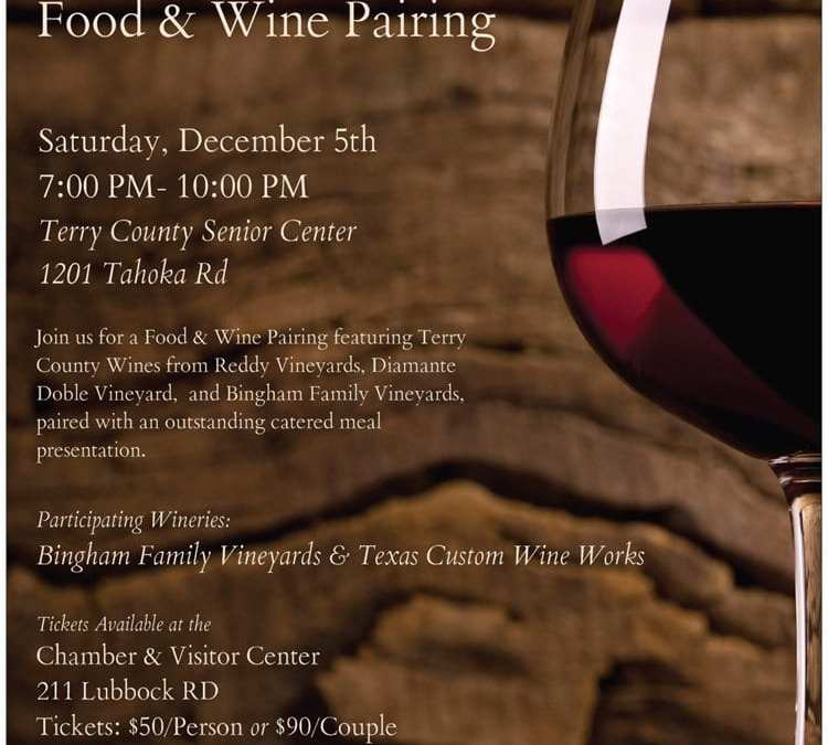 Brownfield Chamber presents A Taste of Terry County Food & Wine Pairing