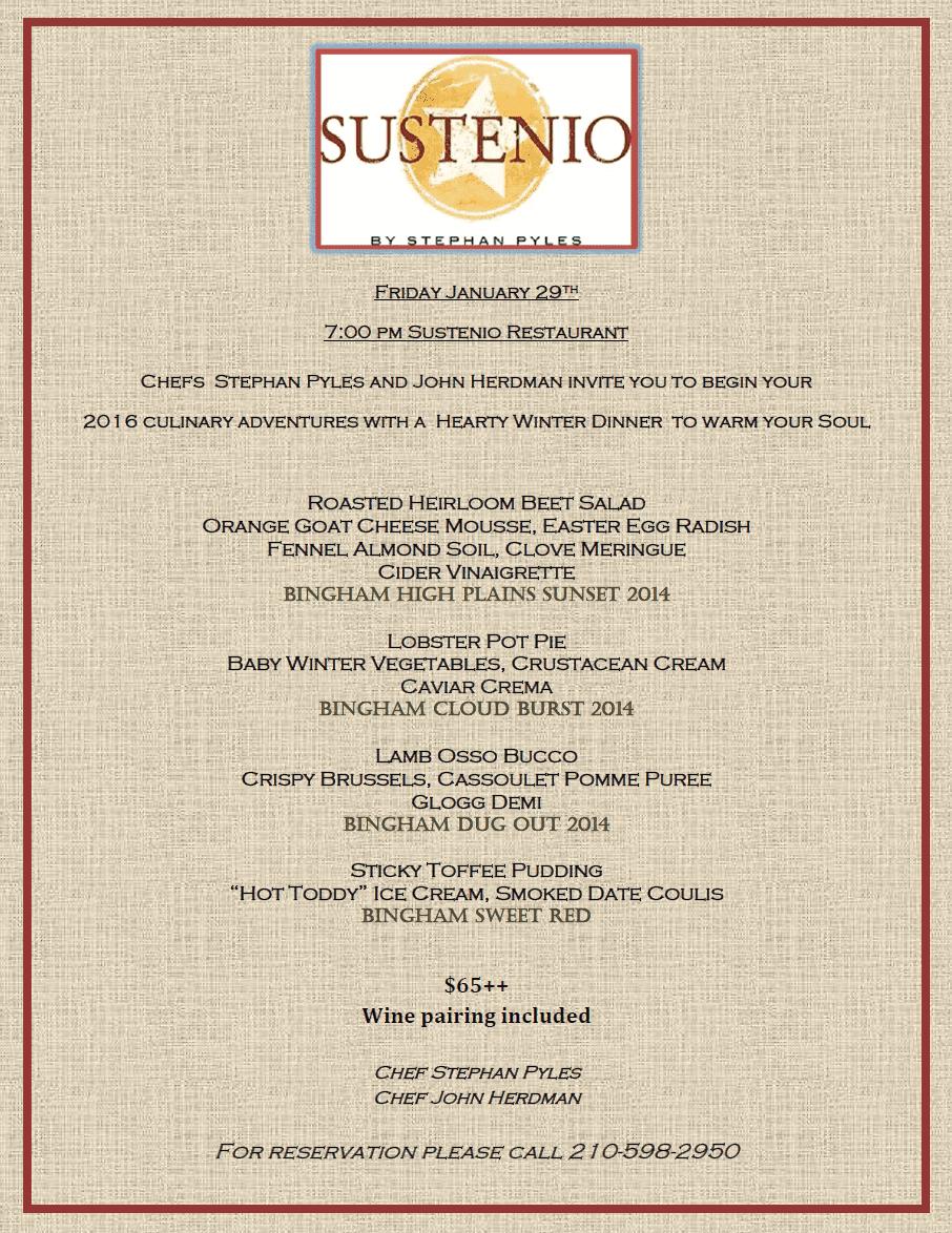 Sustenio Wine Dinner host by Chef Stephan Pyles | Bingham Family