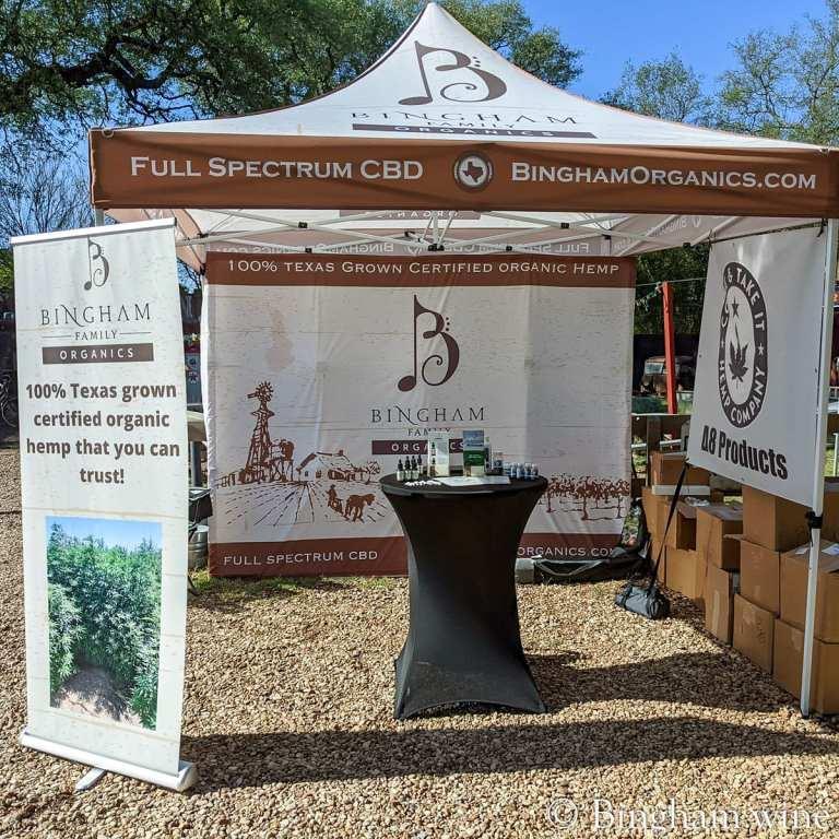 Bingham Family Organics CBD booth display