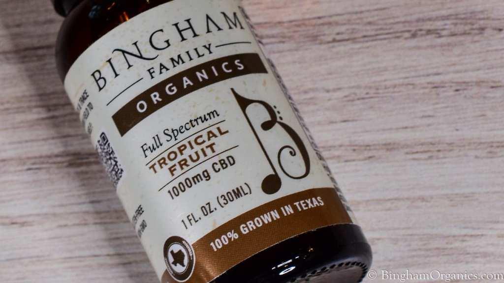 BinghamOrganics.com CBD full spectrum tincture bottle.