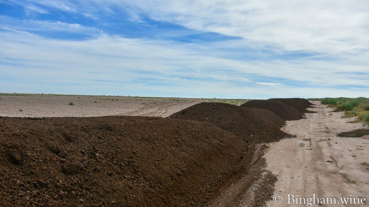 Piles of compost at Bingham Organic Farms.