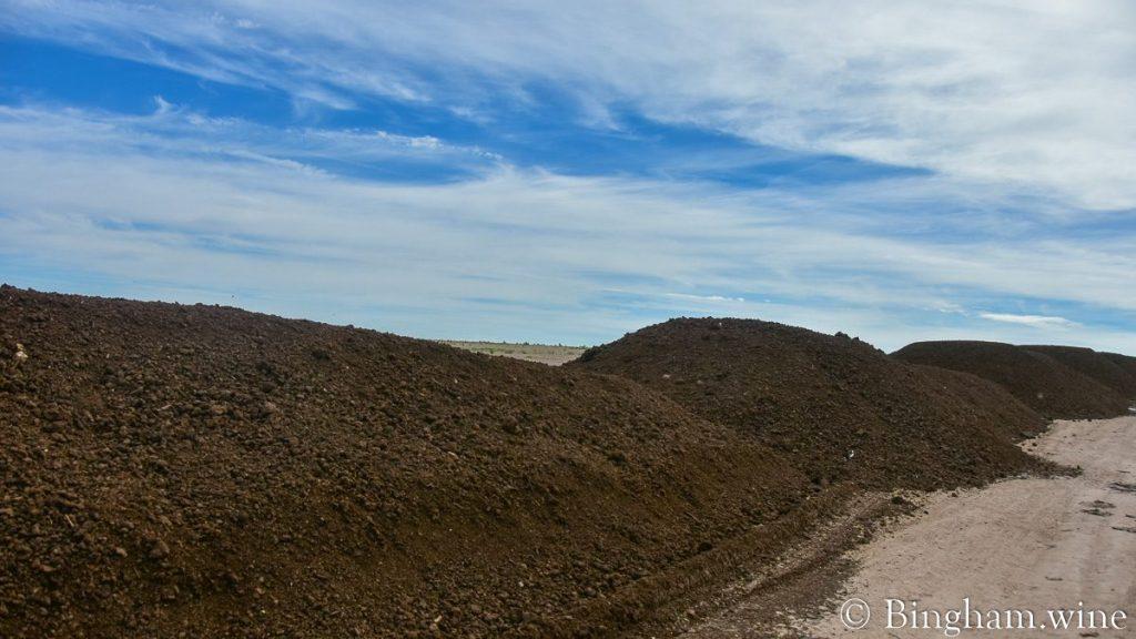 Piles of compost at Bingham Organic Farm.
