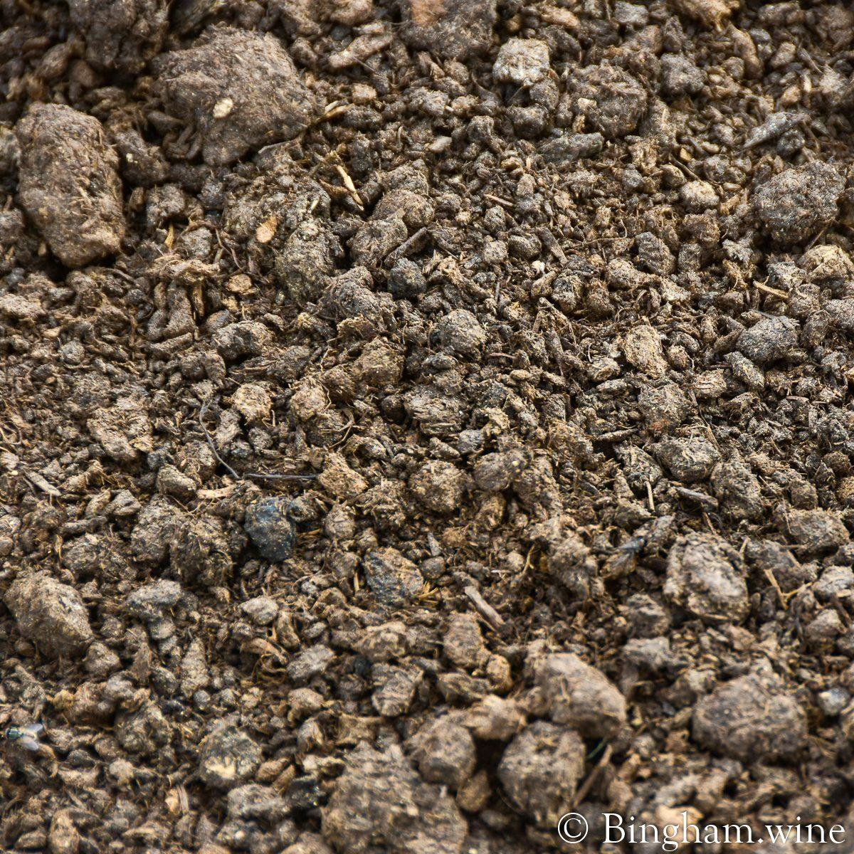 Close up photo of compost at Bingham Organic Farms.