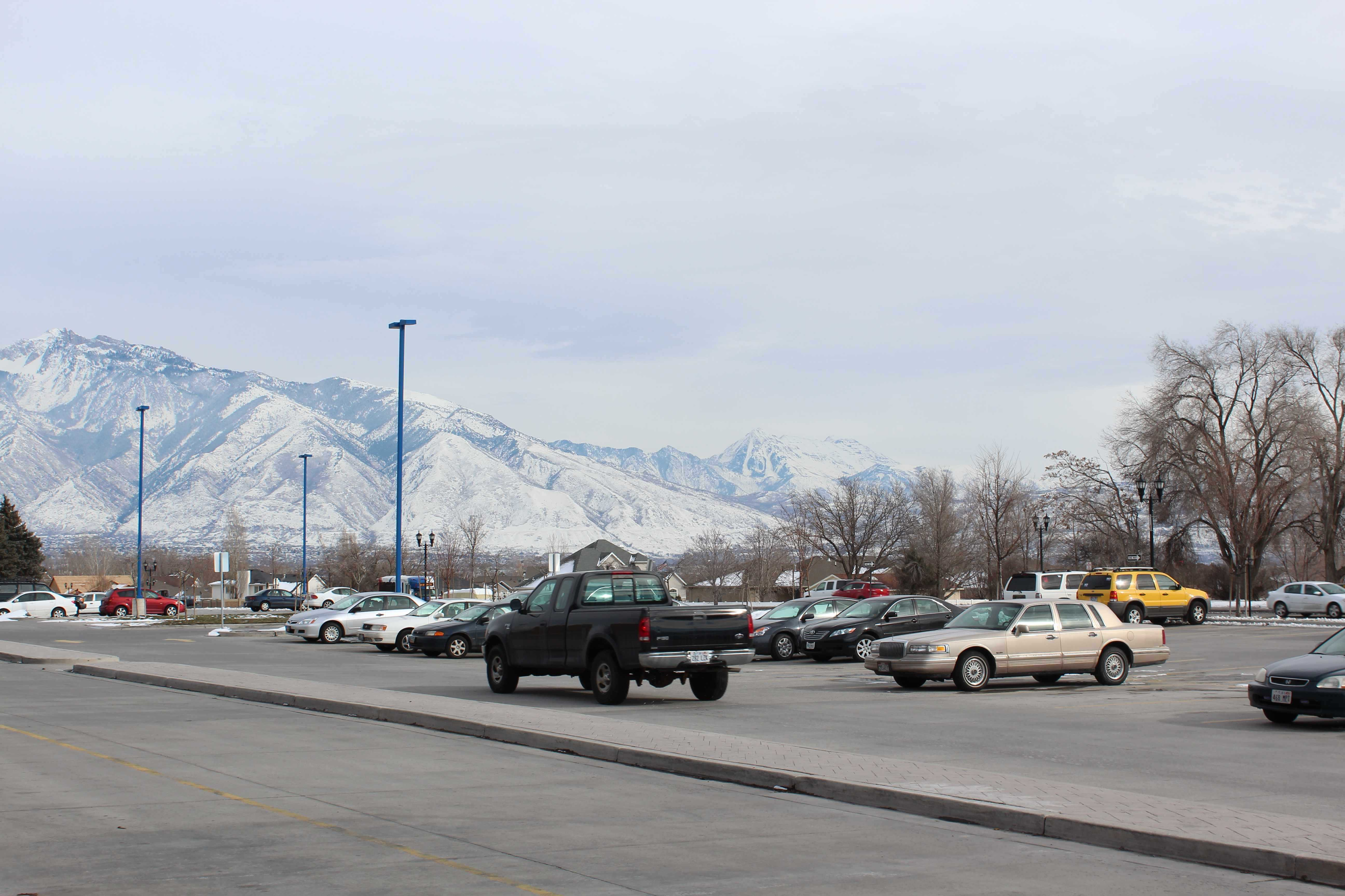 Gray skys rest upon the Salt Lake Valley's mountains.