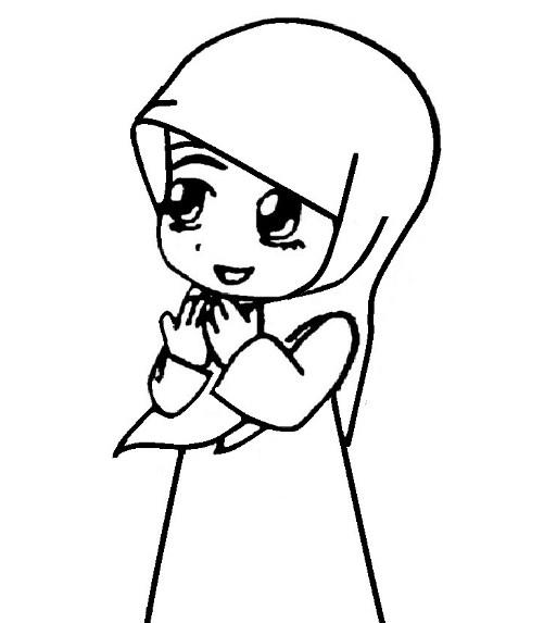 Gambar Kartun Anak Perempuan Muslimah