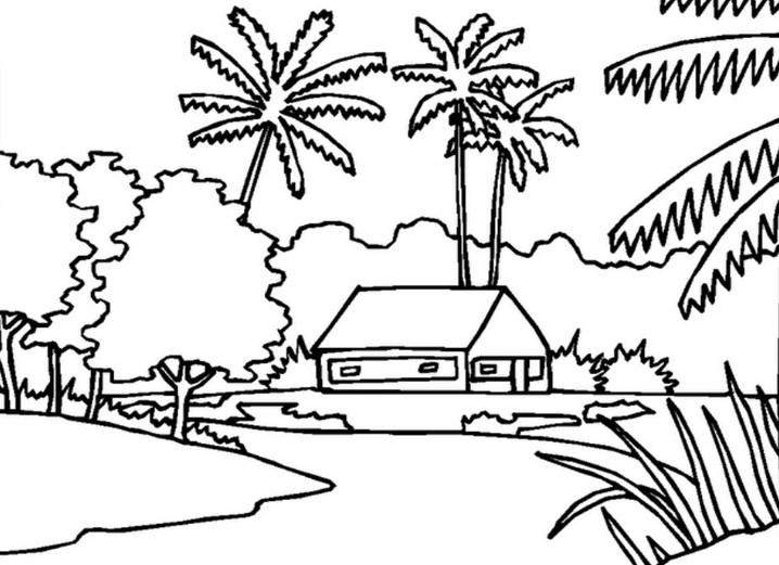 Contoh Gambar Pemandangan Dan Rumah