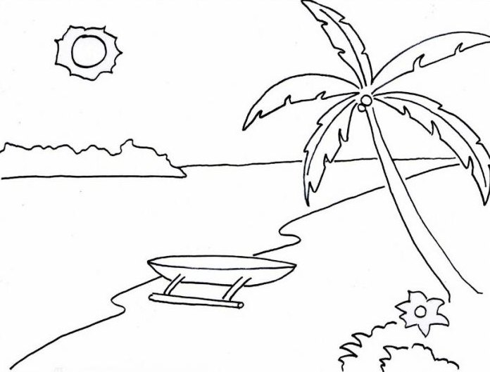 Sketsa Pemandangan Pantai Berwarna