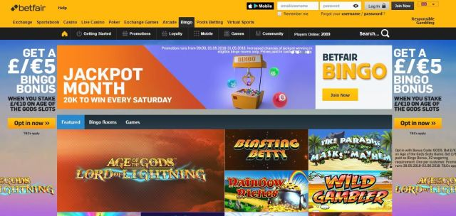 Betfair Bingo homepage