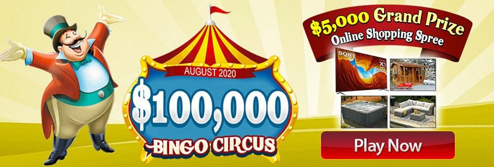 $100,000 Circus Show at Amigo Bingo August 2020