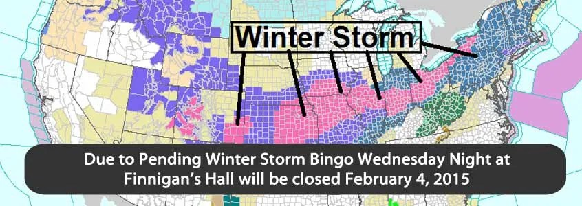 Bingo cancelled Feb 4th 2015