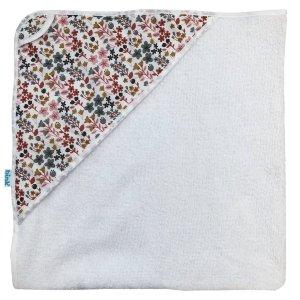 BB120510 BINK Bedding badcape Dees met een vrolijk gebloemde print in mooie warme kleuren zoals oudroze, oudgroen en okergeel op een frisse witte ondergrond.