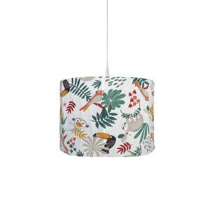 BINK Bedding hanglamp Zoë met kleurrijke toekans, luiaards, tijgers, apen, pagegaaien en bladeren op een witte ondergrond.