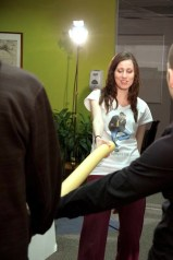 How to hold a pool noodle (Season 1 - Behind-the-Scenes) (Image of Celinka Serre, with programmers)