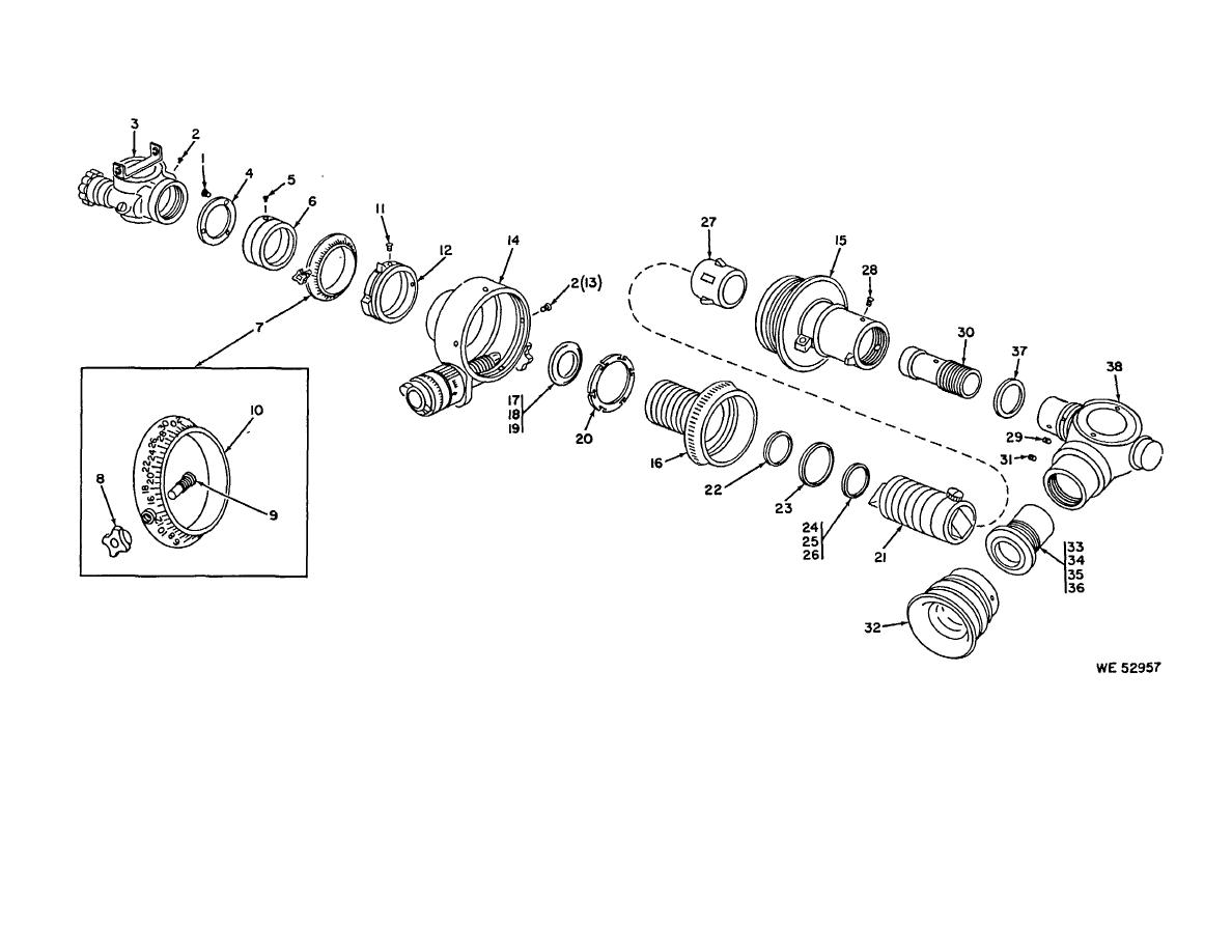 Figure 2. Telescope, panoramic-partial exploded view.