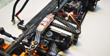 Track Mate Transponder security fitted to Chassis of 1:10 Touring Car