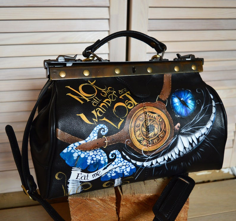 Alice in Wonderland leather Hand-painted Doctor bag.