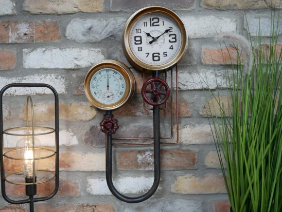 Industrial Steampunk Wall Clock and barometer.⁣