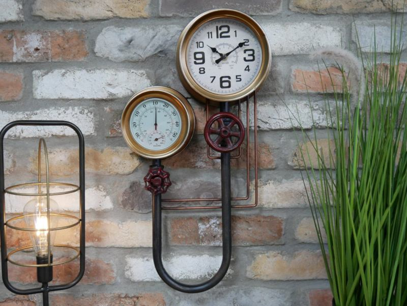 Industrial Steampunk Wall Clock and barometer.
