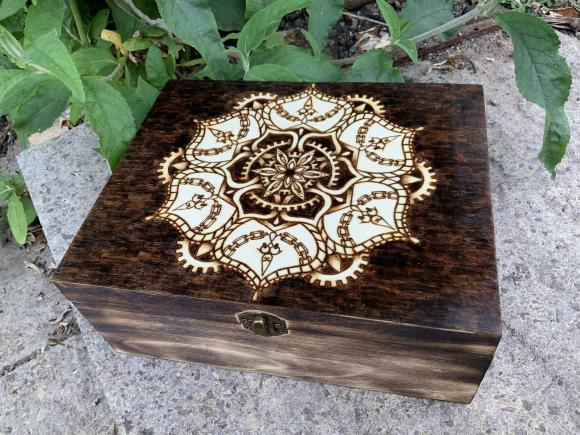 Steampunk Mandala Wooden Keepsake Box.