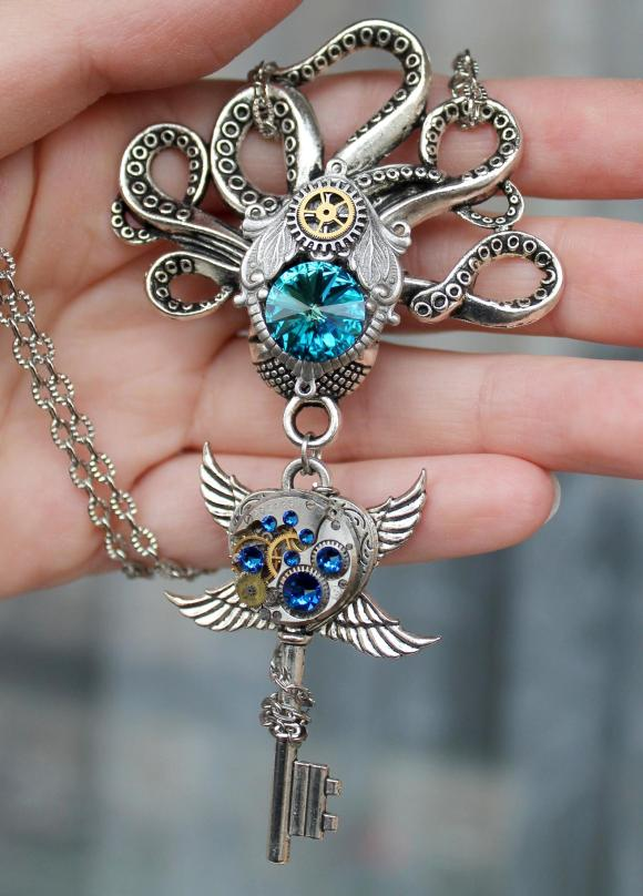 Steampunk Vintage Octopus key necklace