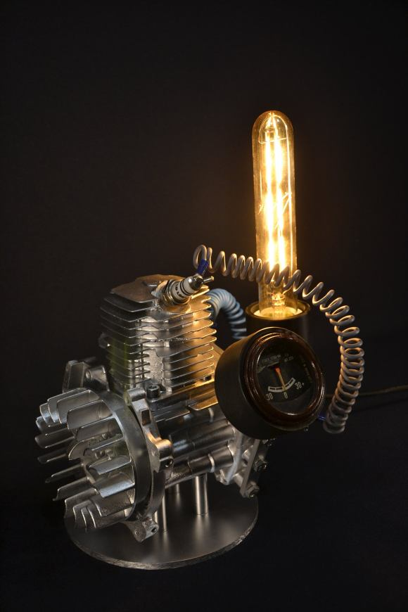 Steampunk desk lamp made of scrap metal.