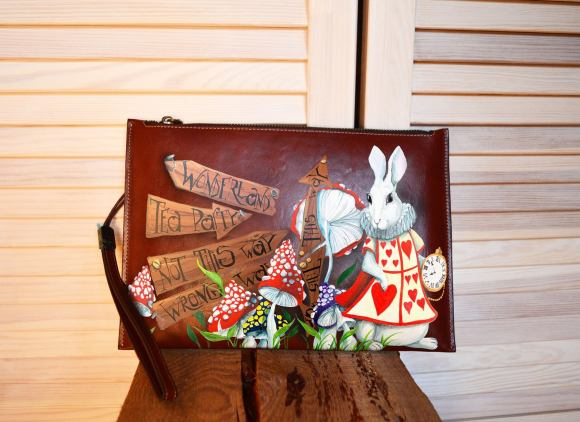 White Rabit Alice In Wonderland Clutch Bag/Purse.